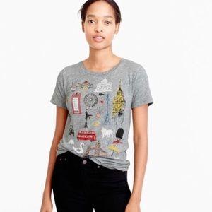 J Crew London graphic tee, gray t-shirt size large